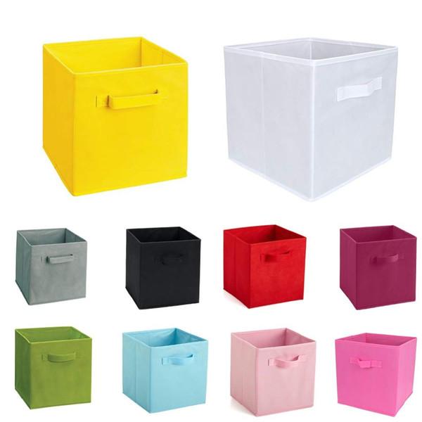 New Non-Woven Fabric Folding Cabinet storage box toys organizer clothes storage bin for Underwear Bra Socks with handle