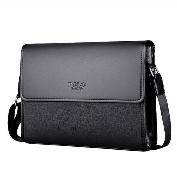 POLO Marca Hombres de cuero Bolsa Hombre Messenger Bag Negro Diseñador iPAD Bolsas de hombro Bolsos Crossbody de los hombres de gran capacidad