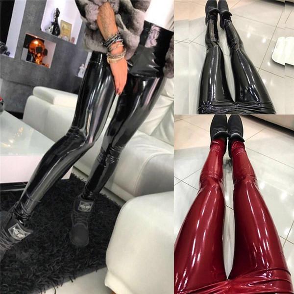 Kadın Deri Pantolon PU Faux Deri Pantolon Seksi Siyah Şarap Kırmızı Yüksek Bel Elastik Tayt Kalem Pantolon Pantolon
