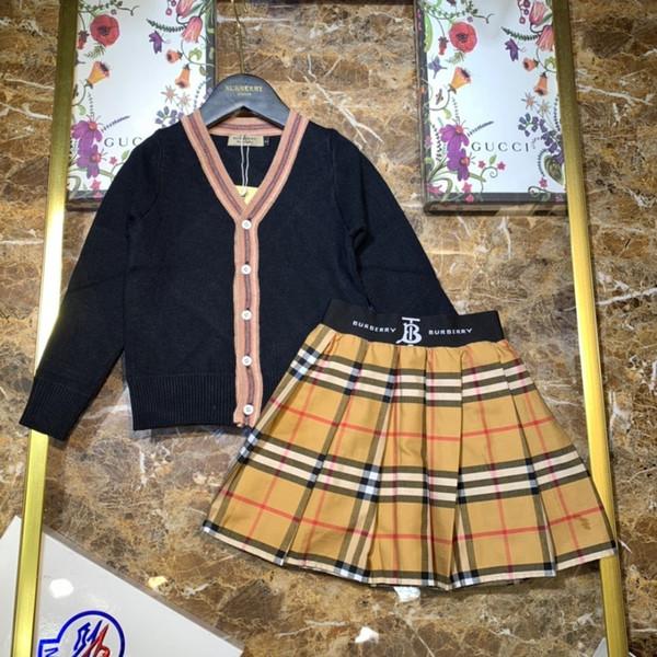 Kids designer abbigliamento bambini set gonna pullover cardigan lavorato a maglia due pezzi di lana lavorata a maglia in puro cotone due colori