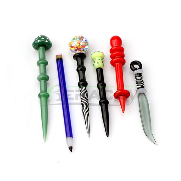 6 Estilos de cristal Dabber herramientas de color fumadores vidrio Dab Cap Por Cera aceite de tabaco cuarzo Banger Nails Agua de cristal Bongs Dab Rigs Pipes