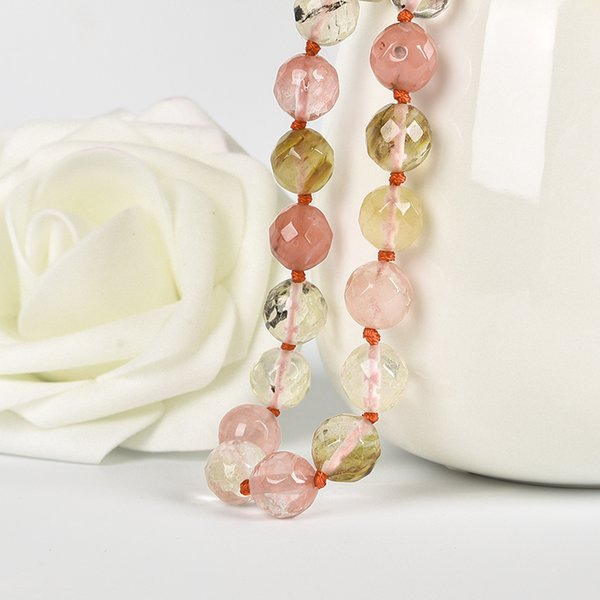 New fashion natural 10mm crystal watermelon stone beads DIY jewelry making beads natural 18'' necklace fashion bead necklaces