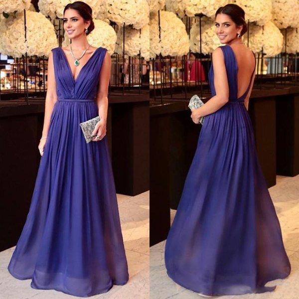 2019 robes de soirée bleues une ligne de cou v longues robes de soirée de bal de bal