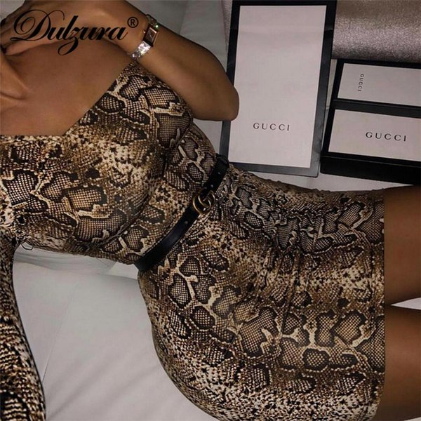 Dulzura 2019 new spring women party dress snake print one shoulder bodycon sexy dresses vestidos streetwear dresses ladies
