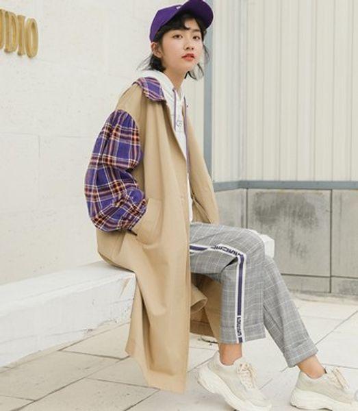 Новое поступление горячая распродажа специальная мода корейская версия женский элегантный свободного покроя широкий студент шить контрастного цвета плед популярный плащ