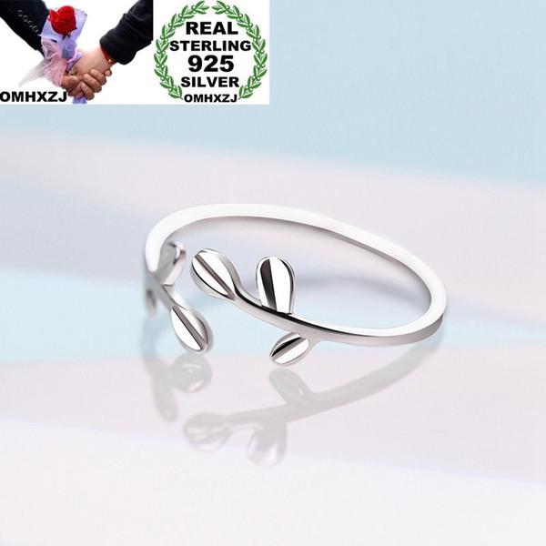 OMHXZJ Wholesale europäische Art- und Weisefrauen-Mädchen-Partei-Hochzeits-Geschenk-Silber-Blätter öffnen 925 Sterlingsilber-Ring RR273
