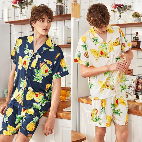 Высококачественный принт с фруктами Мужчины Атласная шелковая пижама Набор футболок Шорты Мужские пижамы Одежда для отдыха Одежда для дома с коротким рукавом Ночное белье