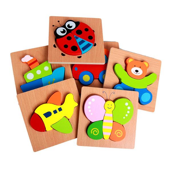 Animaux mignons en bois Puzzles 15 * 15cm Bébé en bois coloré intelligence jouets jouets en bas âge cadeaux pour boyd filles 20 styles B11