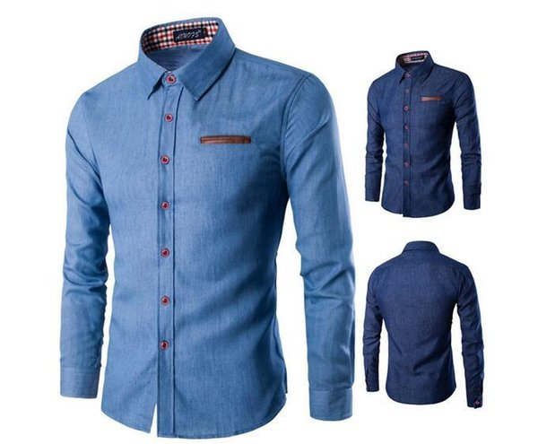 New Oxford Textile Business Casual Digital Print Loose Men's Pocket Long Sleeve Shirt Free Shipping 01