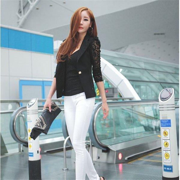 Moda Mulheres Estilo manga comprida Botão Blazer Elegant Brasão Suit Magro femme chaqueta femenina blazermujer A1