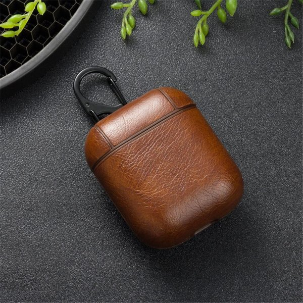 Top quality Airpod PU Leather Case Earphone Full Cover Protector with Hook for Apple Bluetooth Wireless Charging Headset with Retail Box