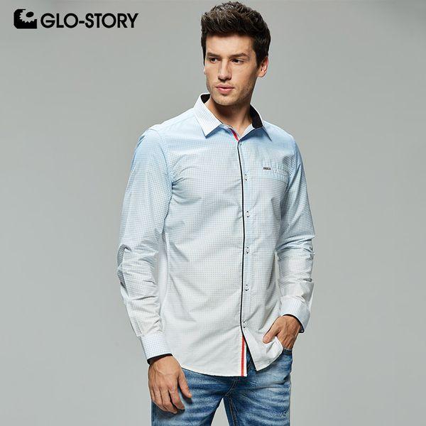 Compre Glo Story Tamaño Europeo Hombres Moda Impresión Fitness Camisas De Vestir Formales Hombres 2019 Camisa De Manga Larga Blusa Tops Mcs 7912 A