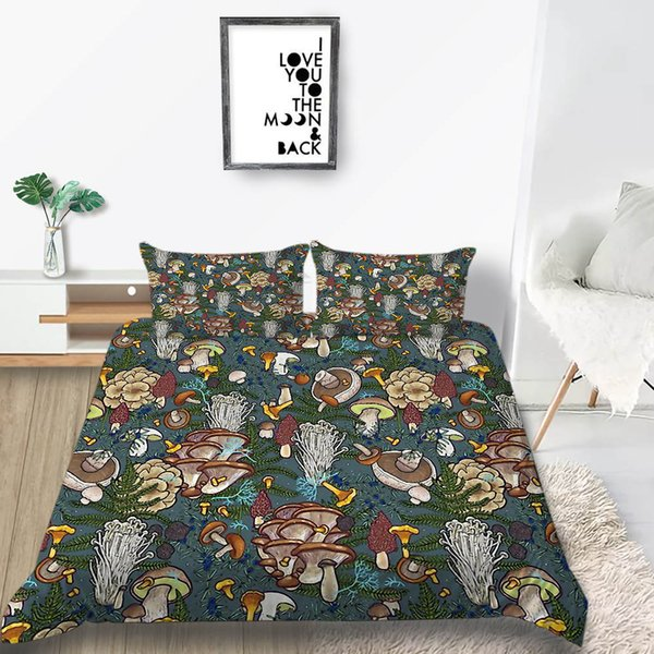 Mushroom Bedding Set Full Size Creative Cartoon Fashion Colorful Duvet  Cover King Queen Single Double Twin Bed Cover With Pillowcase Affordable ...