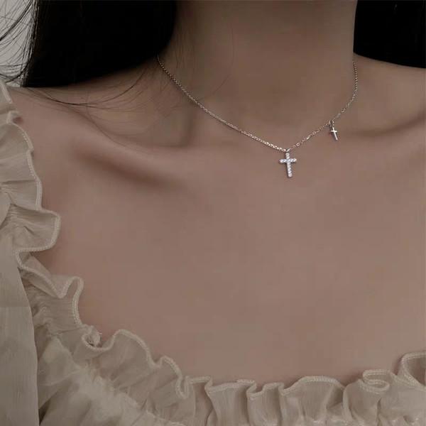 Ювелирные изделия стерлингового серебра 925 корейской моды, высокое качество, ожерелье Персонализированного Золотого креста для женщин, Продуманное