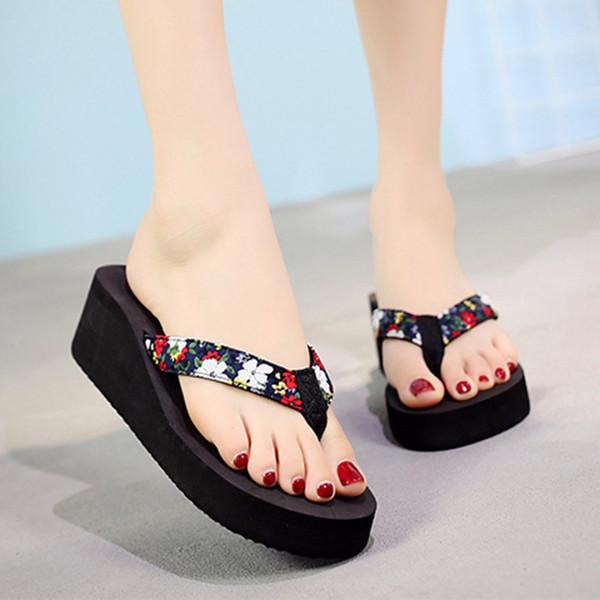Frauen Hausschuhe Sommer Damen Schuhe Mode Blumen Flip-Flops Böhmischen Stil Hausschuhe Strand Sandalen Bad Zapatos Mujer