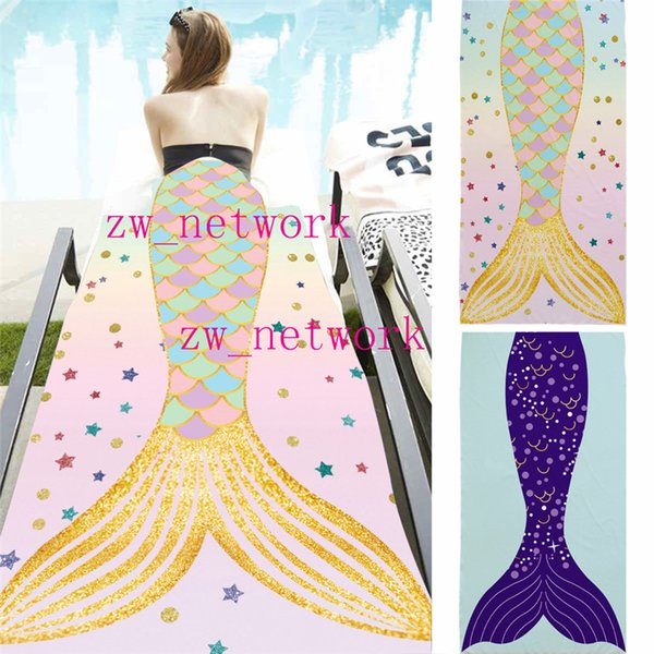 top popular 70*150cm Mermaid Tail beach blanket for women Microfiber fabric towels Summer Soft bath towel Rectangle blankets for shower towel wraps 2019