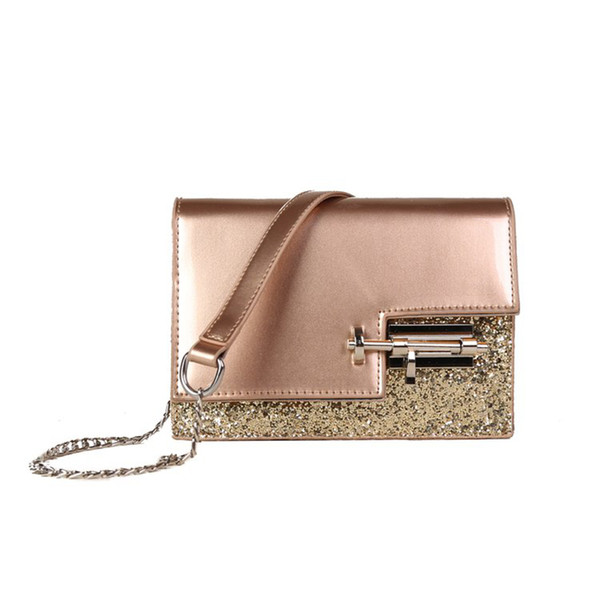 Women Shiny Bling Bling Creative Door Bolt Design PU Leather Flap Shoulder Bag Crossbody Bag for Ladies Female Party