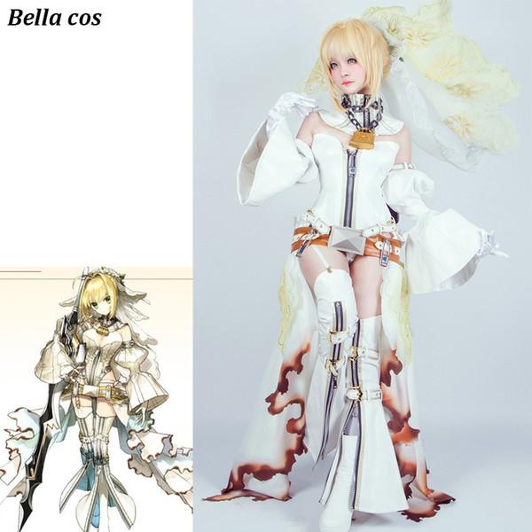 Destin Grand Ordre Sabre Nero Cosplay Costume Blanc Robe De Mariée Uniforme Carnaval Halloween costume pour femmes Anime vêtements