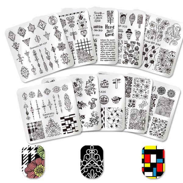 wholesale 10Pcs Square Nail Art Stamping Plates + 1Pc Stamper Scraper DIY Image Stamp Template Manicure Tools Set