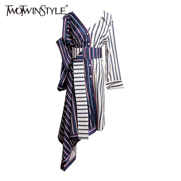 Twotwinstyle Asymmetrical Shirt Dress Women Off Shoulder Striped Sexy Dresses Female With Wide Belt Patchwork Clothing Autumn Q190511