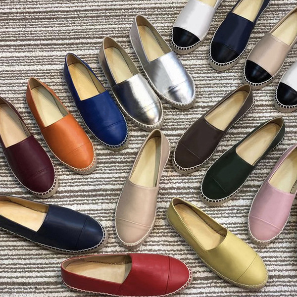 Lüks Tasarımcı Ayakkabı Klasik Loafer'lar Deri Espadrilles Düz Ayakkabı Iki Ton Cap Toe Gerçek Kuzu Derisi Yaz Renkli Kadın Sandalet SZ 34-42