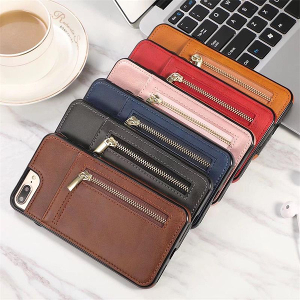For Iphone XS Max XR 8 7 6 Plus Wallet Cell Phone Case With Zipper For PU Leather Cases Wallet Back Cover Pouch With Card Slot Photo Frame