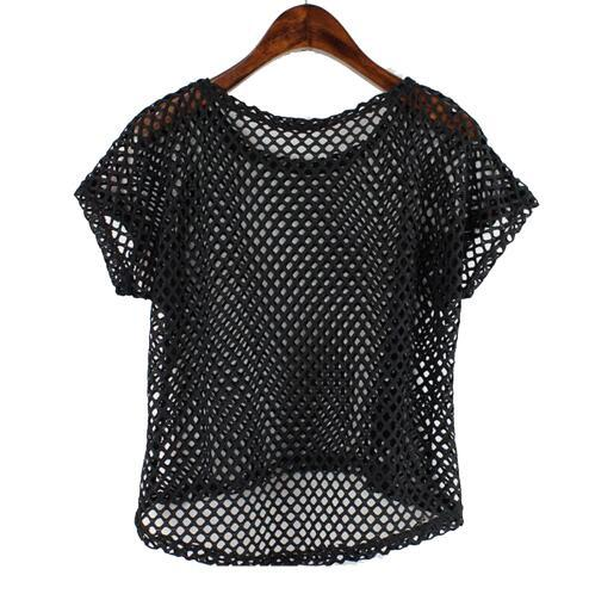Sexy Mesh Top Women Girl Summer Hollow Out Crop Short Sleeve Top T Shirt Dancewear Lady Harajuku Black White Crochet Lace Shirts