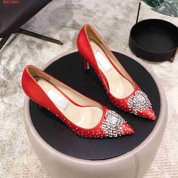 2019 new Famous brand designer high-heel dress shoes for women The high quality nail beads women high heels shoes