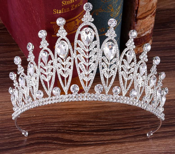 Барокко Невесты Корона Серебряный Лист Головной Убор Обруч Волос Корона