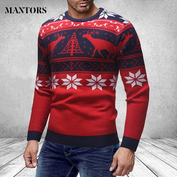 Cashmere Wool Knitted Men Christmas Sweaters 2019 Slim Fit Deer Snow Pint Pullovers Male Round Neck Striped Knitwear Streetwear #490720