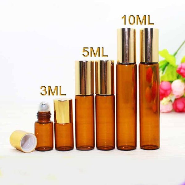3ml 5ml 10ml Amber Brown Glass Roll On Essential Oils Perfume Aromatherapy Bottle With Steel Glass Roller Ball Gold Cap