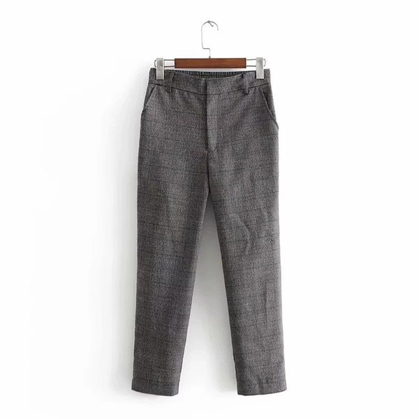 2019 Kadınlar Yaka İki Adet Set Moda Blazer Harem Pantolon Casual Blazers Plaid İlkbahar Yaz Gevşek Kıyafetleri Suits