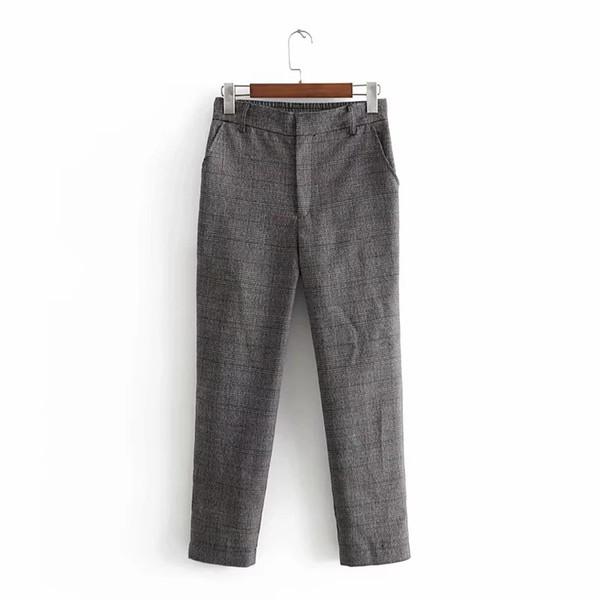 2019 Women Lapel Two Piece Set Fashion Blazer Harem Pants Plaid Casual Blazers Suits Spring Summer Loose Outfits