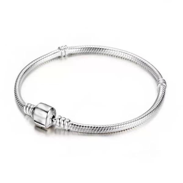 hot sale 925 Silver Bracelets 3mm Snake Chain Fit Charm Bead Bangle Bracelet Jewelry Gift For Men Women bracelet(16-23cm)