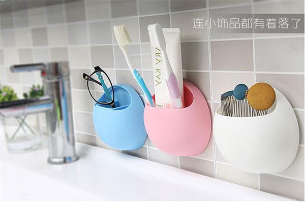 best selling Bathroom Storage Holders Home Bathroom Toothbrush Toothpaste Wall Mount Holder Sucker Suction Organizer Cup Rack Office Racks