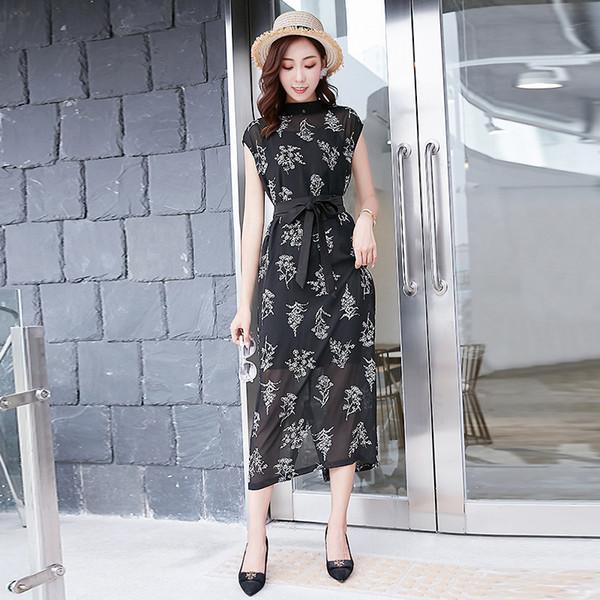 2019 костюм-платье шею шифон печати талии темперамент самосовершенствование платье женщина