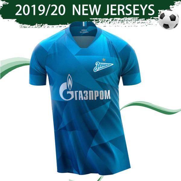 2020 FC Zenit Accueil bleu Soccer Jersey 2019/20 Zenit # 10 Dzyuba # 7 AZMOUN Football Chemises # 27 Ozdoïev Uniformes Football Ventes