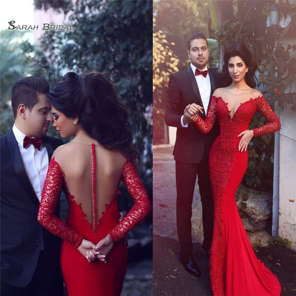2019 Red Mermaid Abiti da sera Sheer Jewel Lace Applique maniche lunghe abito da spettacolo abito formale Prom Dress