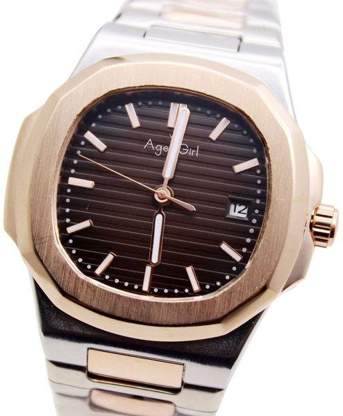 Luxury Top Brand New Automatic Mechanical Mens Luminous Rose Gold Stainless Steel Transparent Glass Back Black Blue Gents Watch