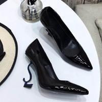 Blue heel black Shiny Leather