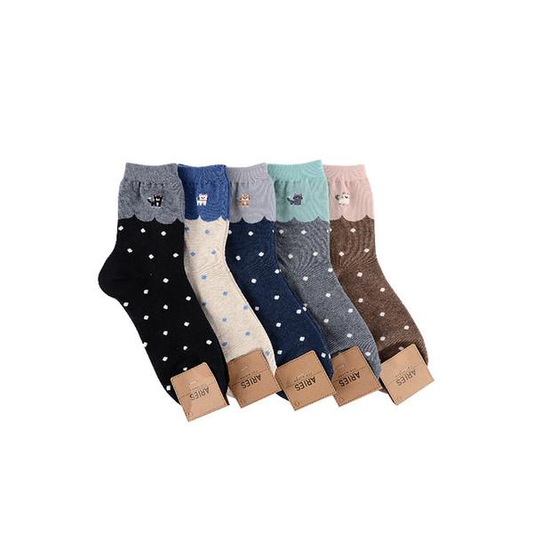 Costura cor dot animal print meias gato bonito engraçado das mulheres dos desenhos animados meias de algodão outono inverno macio conforto respirável casual