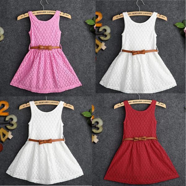 Details über Baby Mädchen Kinder Spitze aushöhlen Kleid Kleidung ärmellose Kleider Sommerkleid Röcke