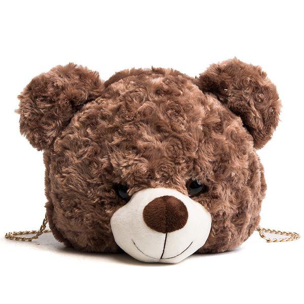 Lovely Cartoon Winter Design Faux Fur Female Messenger Handbag Teddy Bear Head Women Shoulder Bag For Girl Kid Gift Cute Toy Bag D18102303