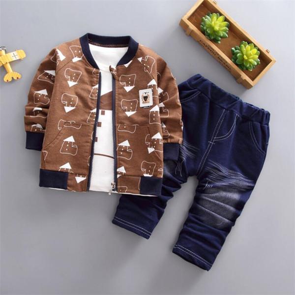 good quality Spring Autumn Children Boys Clothing Sets Cotton Kid Boys Clothes Sets 3Pcs Coat + Shirt + Pants Toddler Clothes Suit