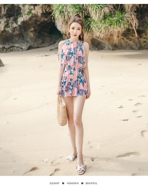 Новый цельный платье стиль консервативная крышка живота тонкий сексуальный купальник корейский плюс размер купальный костюм горячий источник