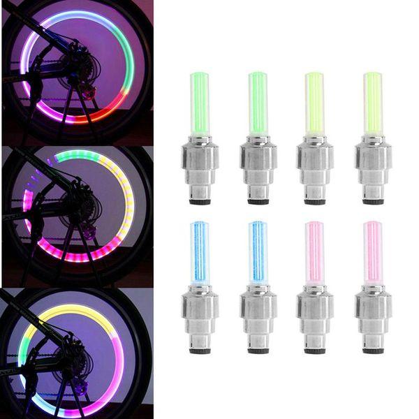 2 Adet Bisiklet Işıkları Bisiklet Lastik Lastik Vana Caps Tekerlek Konuşmacı LED Işık 4 Renk
