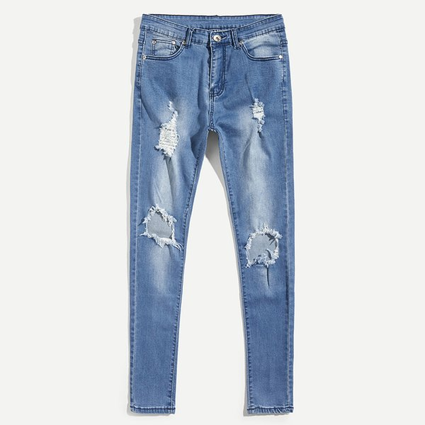 Men Jean Pencil Pant Long Trousers Hole Washed Fashion Street dress Casual Fashion Hip Hop Washed High-end Youth Men MOOWNUC MWC