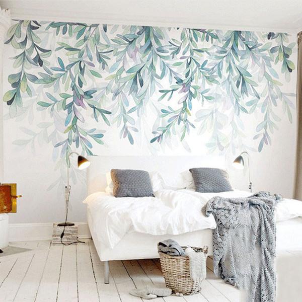 Özel Fotoğraf Kağıdı Modern Yeşil Yapraklar Suluboya İskandinav Tarzı Duvar Duvar Kağıdı Oturma Odası TV Yatak Odası 3D Fresk Ev De ...