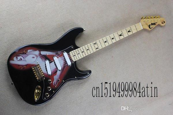 Spedizione gratuita stratocaster modelli di chitarra elettrica Playboy commemorativa in acero Golden hardware
