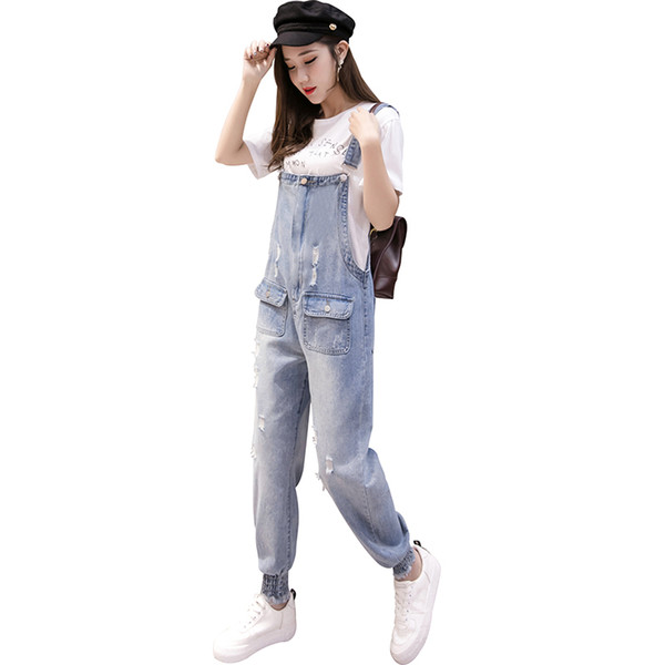 2019 Loose Women Jeans Jumpsuit Frayed Washed Blue Long Clothing Romper Women's Summer Overalls Ripped Hole